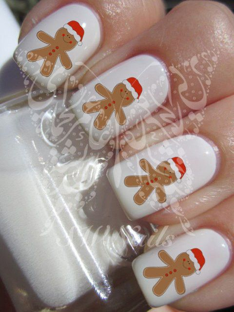 Christmas Xmas Gingerbread man Christmas Hat Nail Art Water Decals Nail Transfers Wraps