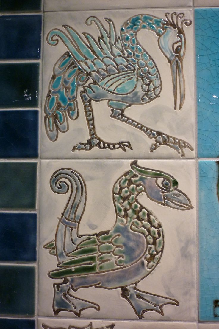 De Morgan tiles?  Not quite,  but in honour of. Detail of a  large contemporary stove tile panel designed and made for a house in Bath  Bronwyn Williams-Ellis