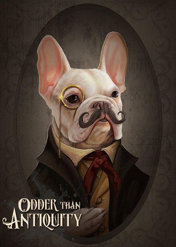 Mortecai the French Bulldog Art Gentleman Victorian Steampunk Original Illustration Painted Bar Portrait 11x14in Poster Print