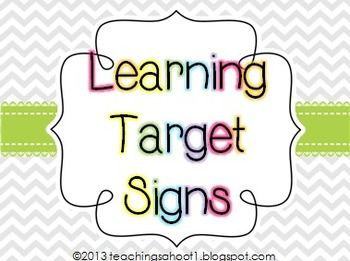 A free set of learning target signs to use in your classroom that coordinate with my chevron classroom decor items. 2 headers + 15 target signs are included.  Remember to check out my blog Teaching's a Hoot for more tips, products, and freebies!  www.teachingsahoot1.blogspot.com