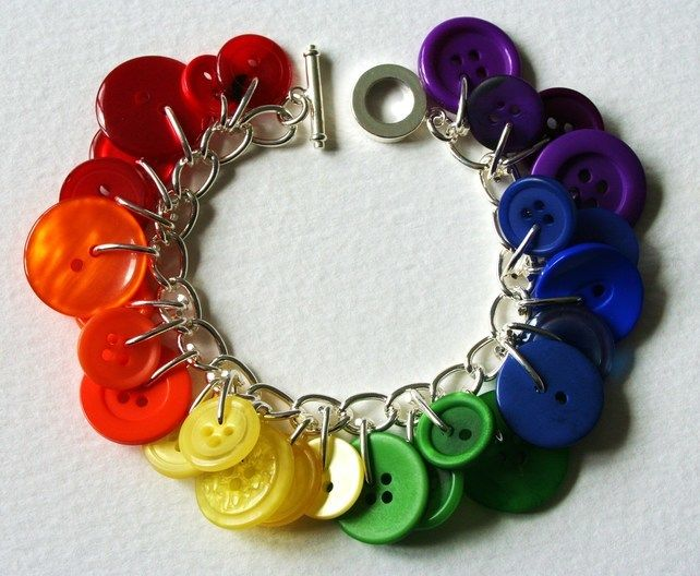 Rainbow Button Bracelet Multicolours Red Orange Yellow Green Blue £14.00
