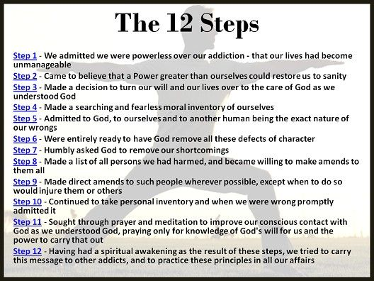 a survey of the steps in the recovery program of alcoholics anonymous The program of recovery works for people who a secular version of aa's steps his alcoholics anonymous step programs are losing their religion.