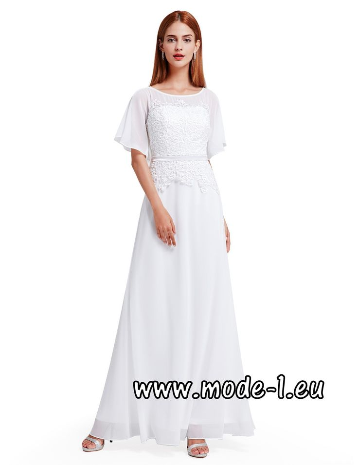 Weißes Abendkleid 2018 mit Ärmel