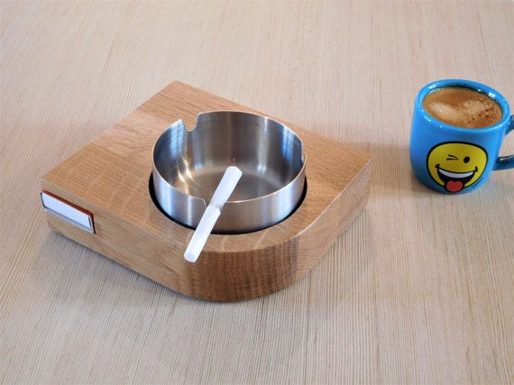 Cool ashtray, wood ashtray with match box case, cigar gifts for men, smoking accessory, cigarrette ashtray, weed ashtray, gift for smoker
