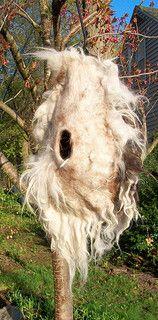 """""""Quasar"""" --llama felt bird pod by Suzanne Higgs"""