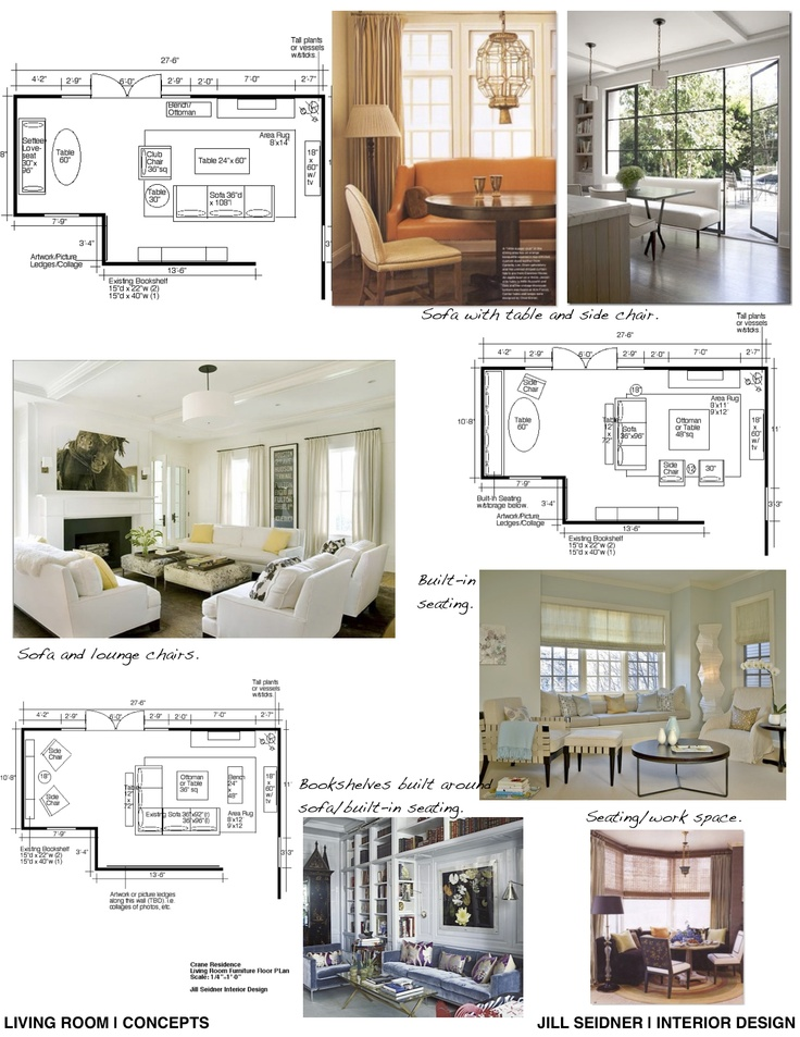 Concept board and furniture layout for a living room Open floor plan living room furniture arrangement