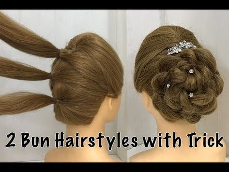 2 Easy Bun Hairstyles with Trick for Wedding & party   prom Updo Hairstyle - YouTube