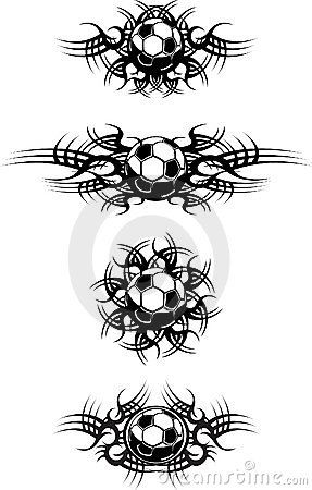 Soccer ball tattoos on elbow