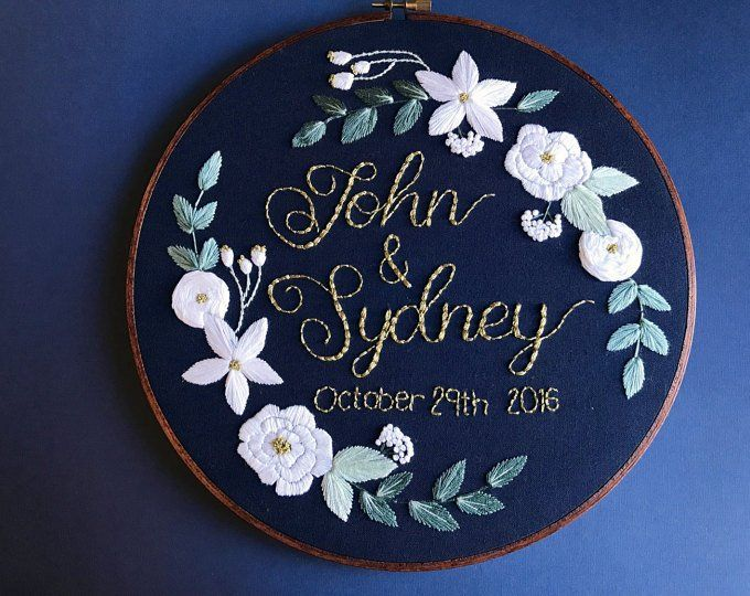 Embroidery Hoop Art Custom Embroidery Wedding Embroidery