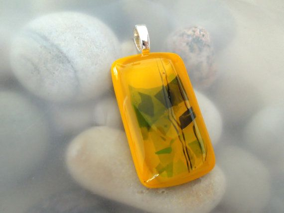 Yellow and Green Fused Glass Pendant by AnoisJewelry on Etsy