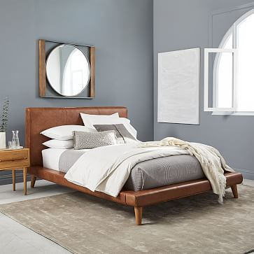 I wish this Mod Leather Platform Bed - Saddle from #westelm was offered in a darker brown leather & walnut legs.