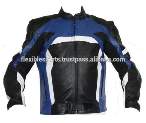 2017 NEW Men Black/Blue Motorcycle Motorbike Leather Jackets
