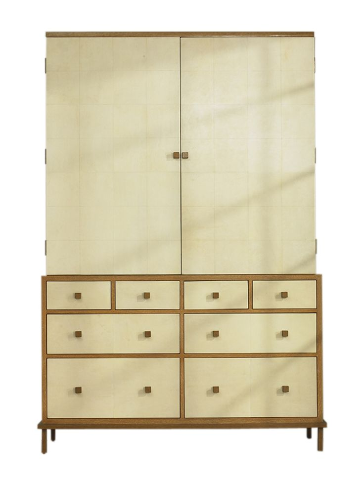 Felix Tall Media Cabinet Special Order MidCentury Modern, Traditional, Transitional, Parchment, Wood, Cabinet by Julian Chichester