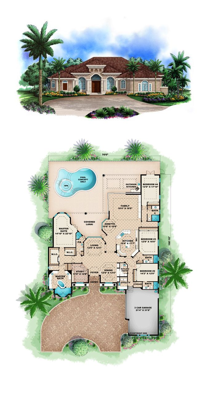florida mediterranean house plan 60416 luxury house plansluxury - Luxury Homes Designs