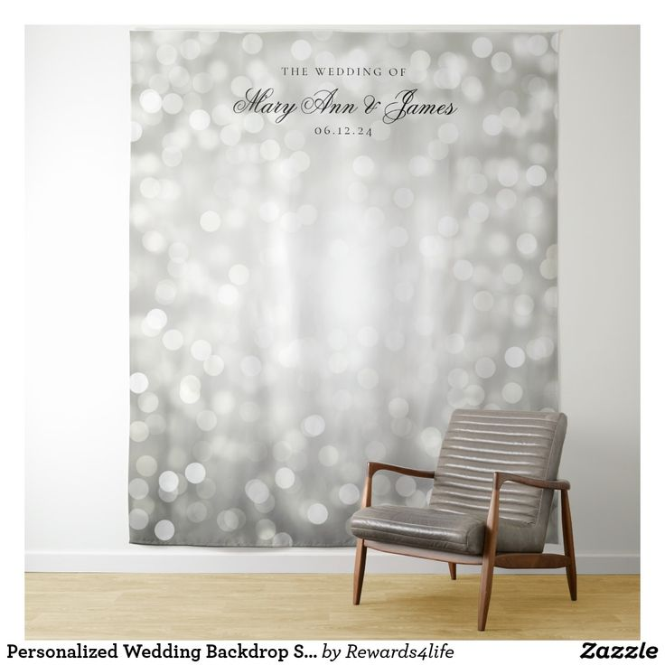 Personalized Wedding Backdrop Silver Bokeh Lights Tapestry