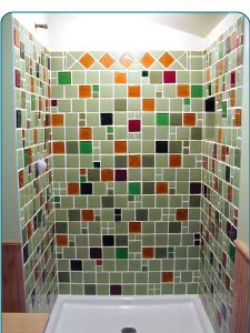 Bathroom Shower Made Of 100 Recycled Glass Tiles From Post Consumer Or Post