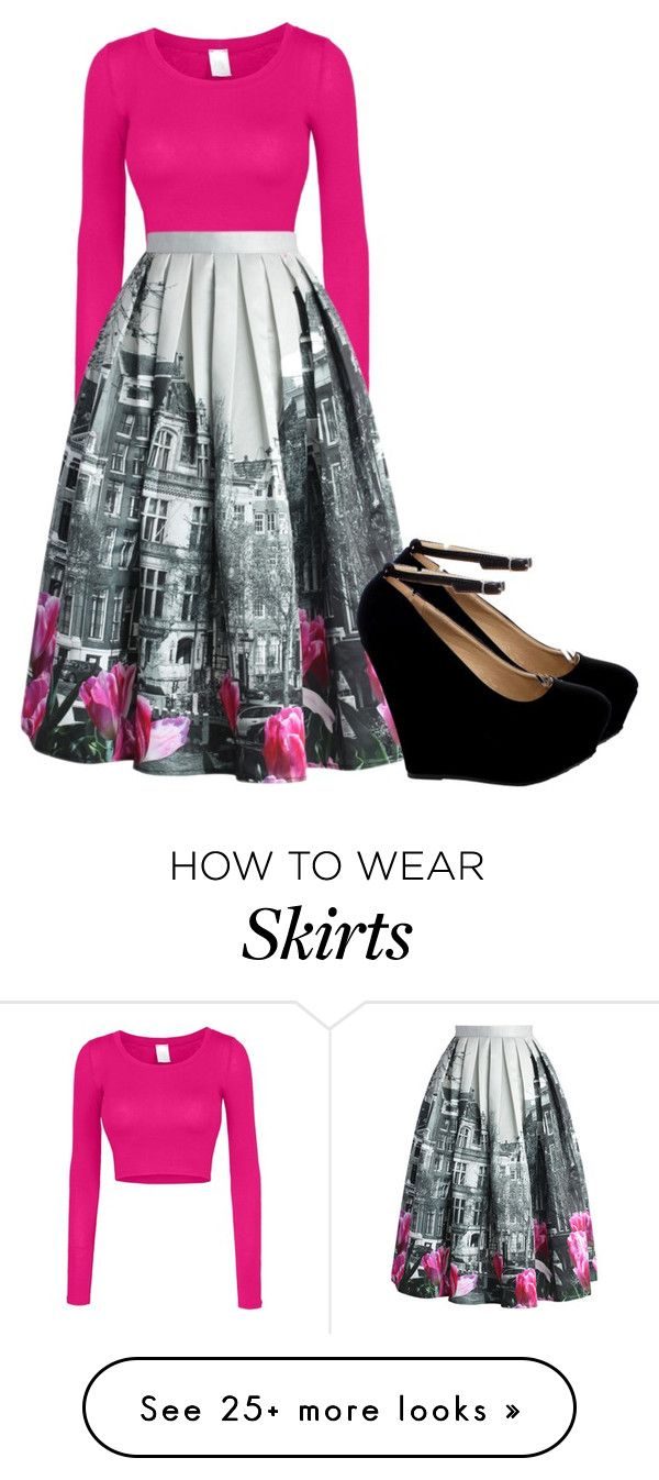 """Pink, Gray & Black Skirt outfit."" by allisonhunter12 on Polyvore featuring LE3NO, Chicwish, women's clothing, women, female, woman, misses and juniors"