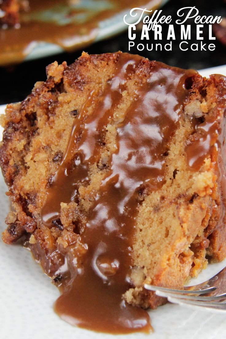 CROWD PLEASING CAKE!! Toffee Pecan Caramel Pound Cake - Moist cake bursting with sweet toffee bits, crunchy pecans and rich creamy caramel in every bite! AMAZING!