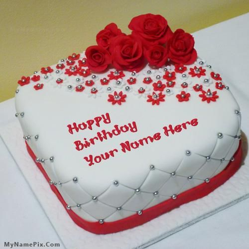 Write your name on cakes. Here you can write names on Birthday Cakes, Anniversary Cakes, Wedding Cakes, Chocolate Cakes and more yummy cakes pictures. You will really enjoy writing your name on Beautiful Rose Cake picture.