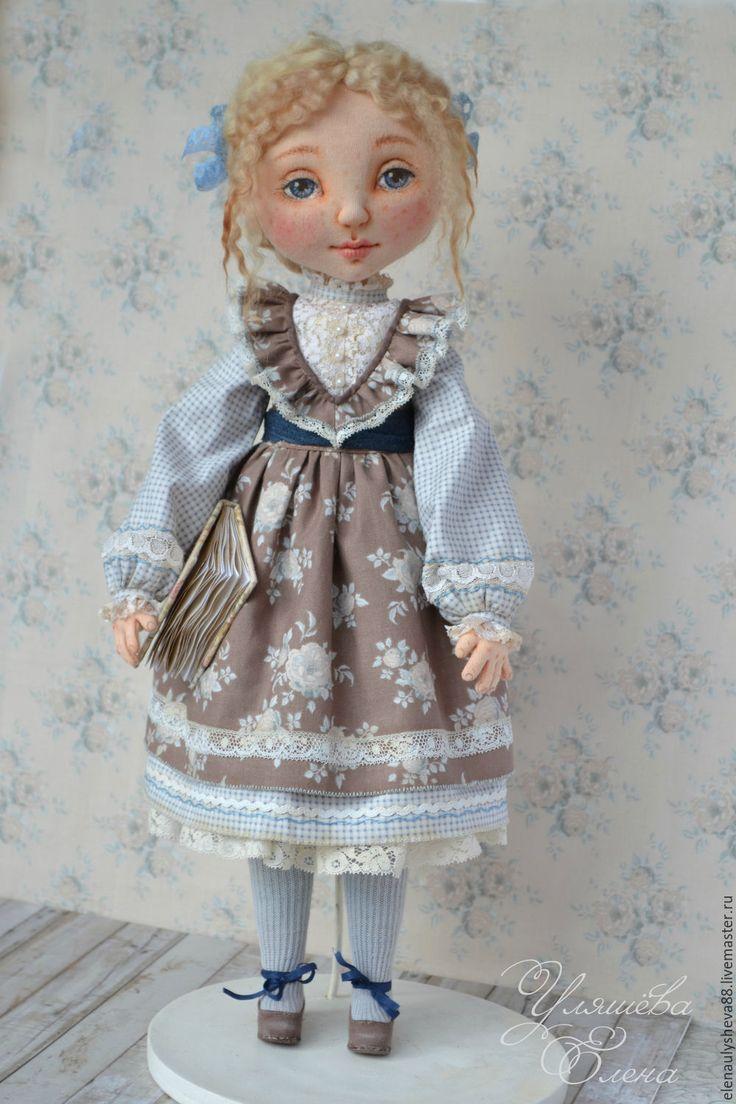 Купить Паулина - коричневый, голубой, авторская ручная работа, авторская кукла, интерьерная кукла