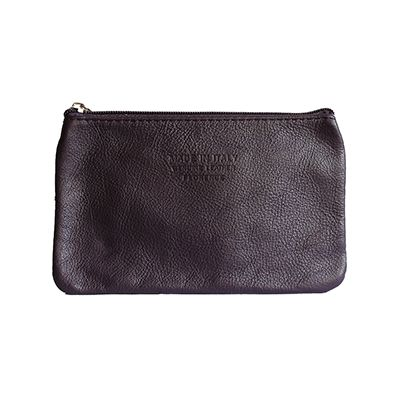 Martha Italian Purple Leather Cosmetic/Makeup Bag - £12.99
