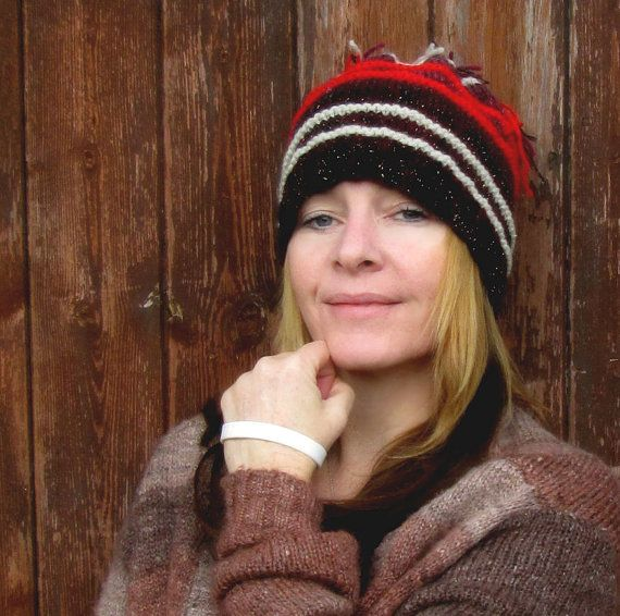 tassel beanie hat deep wine and mahogany colours with red and cream