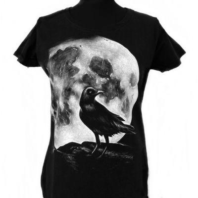 T-shirt Raven koszulka ręcznie malowana kruk
