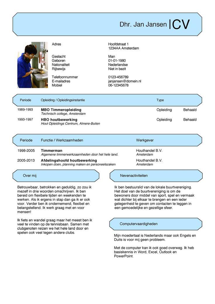 CV-Voorbeeld -  Eenvoudige, gratis CV