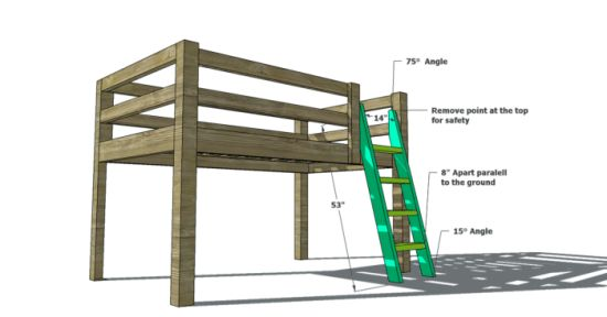 Free Woodworking Plans to Build a Low Loft Bunk Bed. only about 30 inches clearance underneath.  the author answers questions