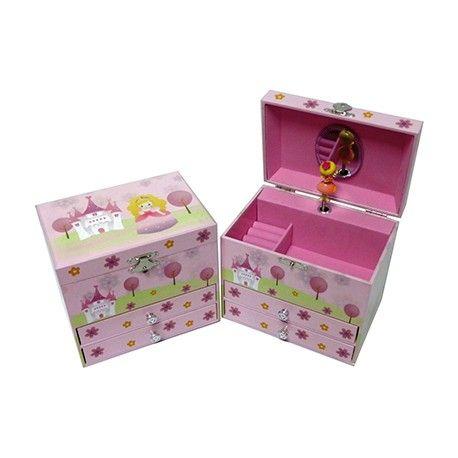 Estupendas cajas musicales para regalo idóneas para un cumpleaños, comunión etc. Realizadas en madera y compuesta por varios cajones que sirven de joyero.