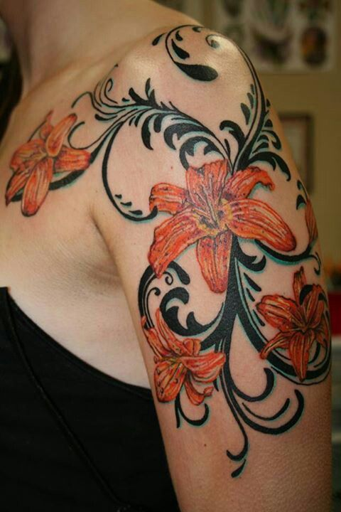 My new tiger lily tattoo!