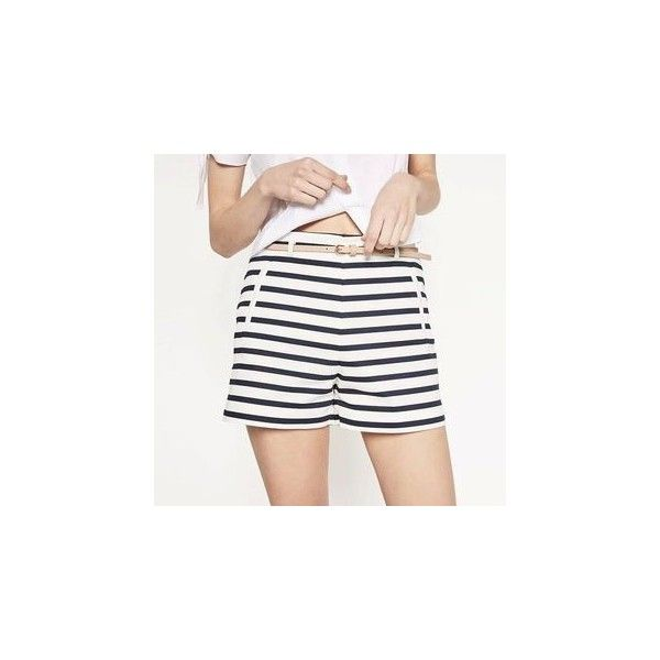 Striped Shorts ($16) ❤ liked on Polyvore featuring shorts, women, striped shorts, stripe shorts and white shorts