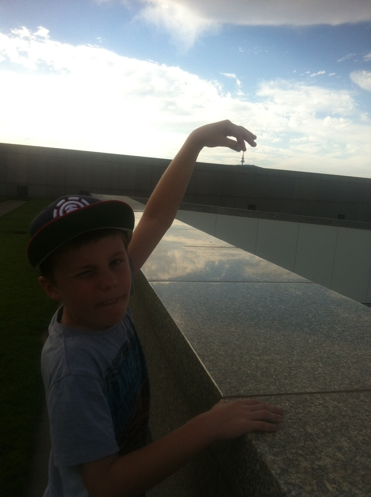 Brayden on the Parliament roof, Canberra Day weekend 2013!