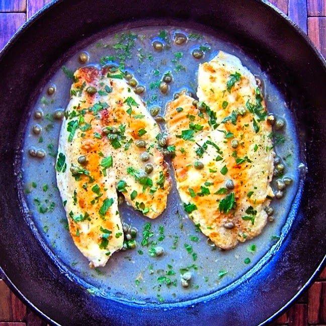 Tilapia Piccata Recipe Main Dishes with low sodium chicken stock, fresh lemon juice, flour, tilapia fillets, kosher salt, black pepper, olive oil, garlic, dry white wine, capers, unsalted butter, parsley