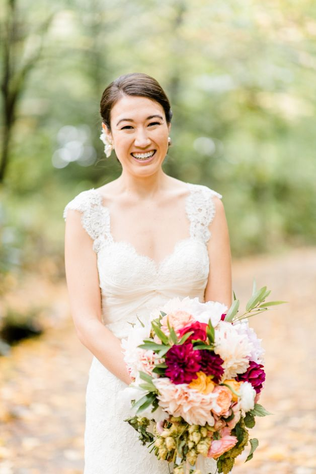 Mountain Wedding at the Lake Eden in NC. Jacin Fitzgerald Events. Lace wedding dress.