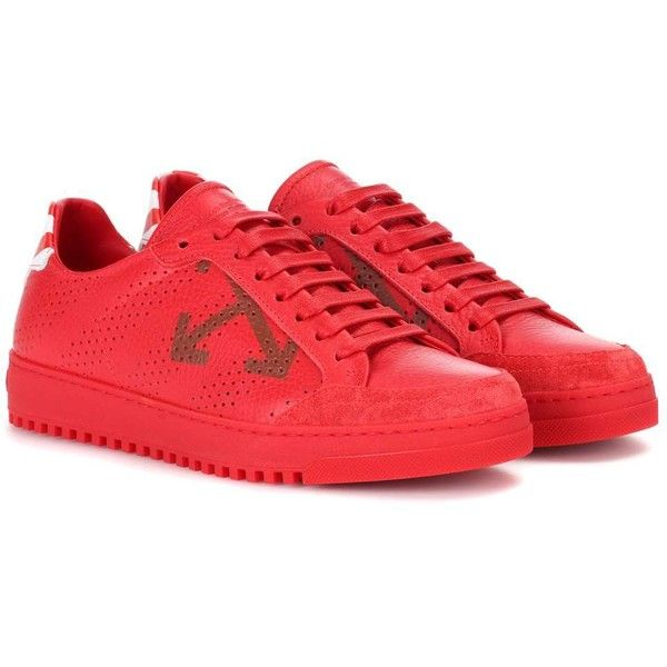 Off-White Carry Over Leather Sneakers ($470) ❤ liked on Polyvore featuring shoes, sneakers, red, off white sneakers, vintage white shoes, real leather shoes, red trainers and red shoes