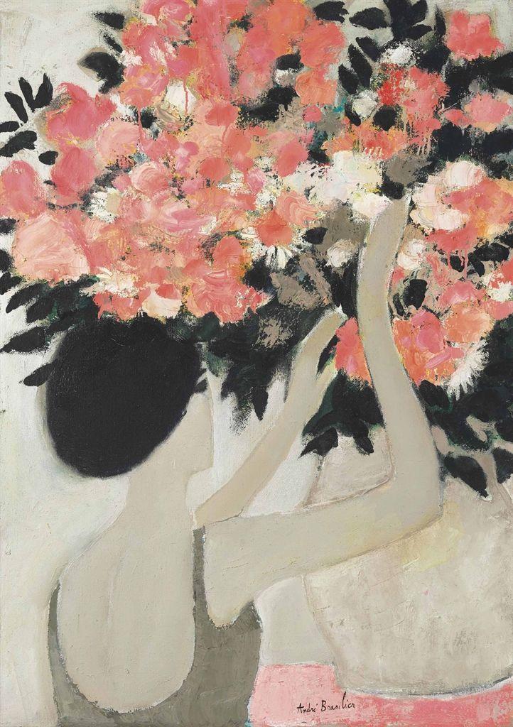 Andre Brasilier   Chantal au bouquet de fleurs roses