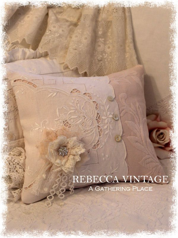 2015 Pink Pillow w/ Tattered Pin from A Gathering Place/RebeccaVintage.com