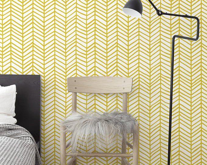 Chevron Wallpaper Featherland White Gray By Leanne Custom Etsy Self Adhesive Wallpaper Chevron Wallpaper Removable Wallpaper