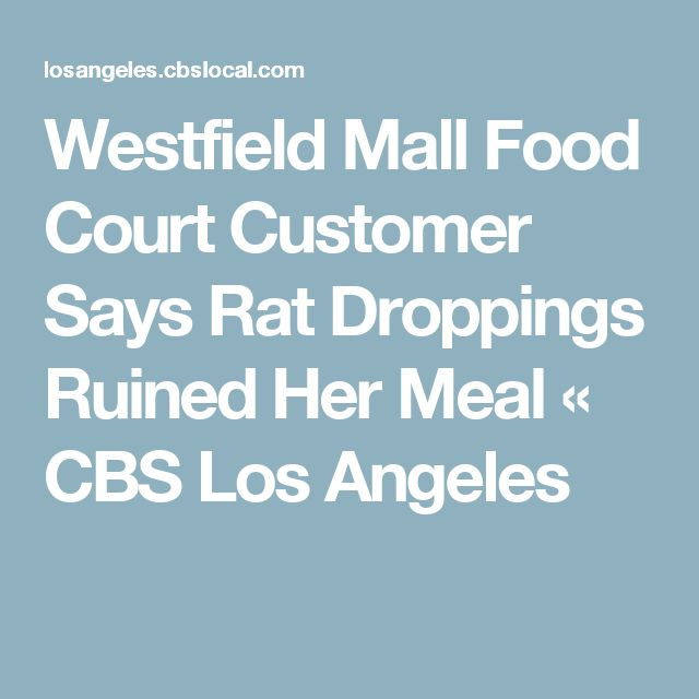 Westfield Mall Food Court Customer Says Rat Droppings Ruined Her Meal « CBS Los Angeles