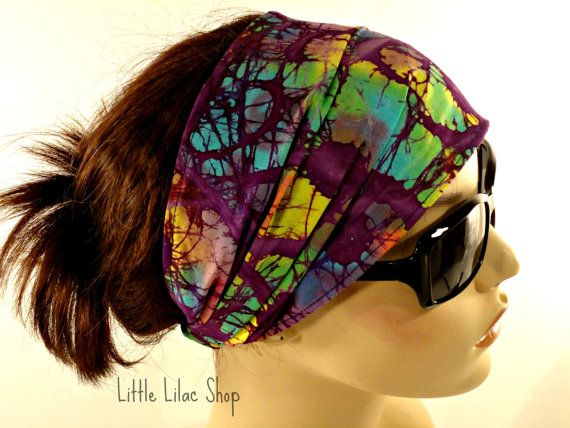 Fabric Headband, Boho Head Scarf, Batik, Wide and Extra Wide, Yoga Headband, Women's Headband, Bandana, Hippie Head Wrap, Cotton Head Wrap