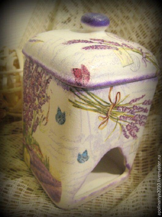 Купить Provence... шкатулка чайная - фиолетовый, шкатулка, шкатулка для чая, чайная шкатулка, Керамика, прованс