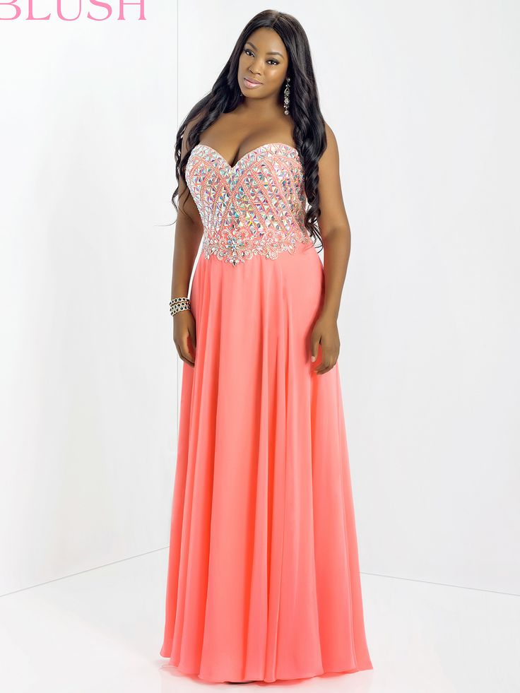 Blush Plus Size Prom Dress 9758W DressProm I love how this is
