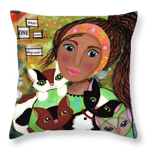 Rescue Kitty Throw Pillow featuring the mixed media Rescue Kitty by Clover Moon Designs Peggy Sowers-Heckman