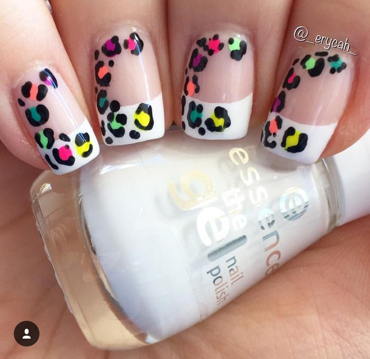 Neon Rainbow Leopard French Manicure Nails