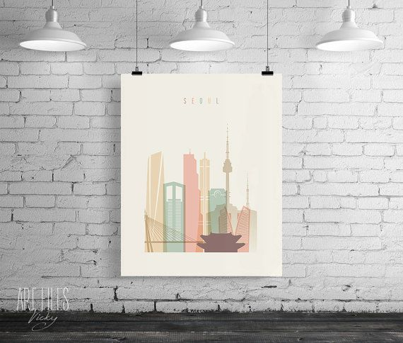 Seoul Print Printable Poster Wall Art Travel city by ArtFilesVicky