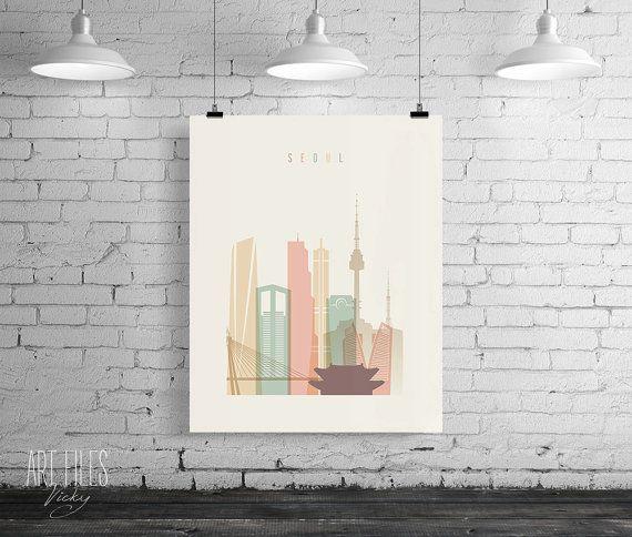 Seoul Print Printable Poster Wall Art Travel city by ArtFilesVicky