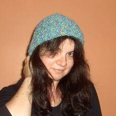 Bonnet multicolore, tricoté main, pour femme