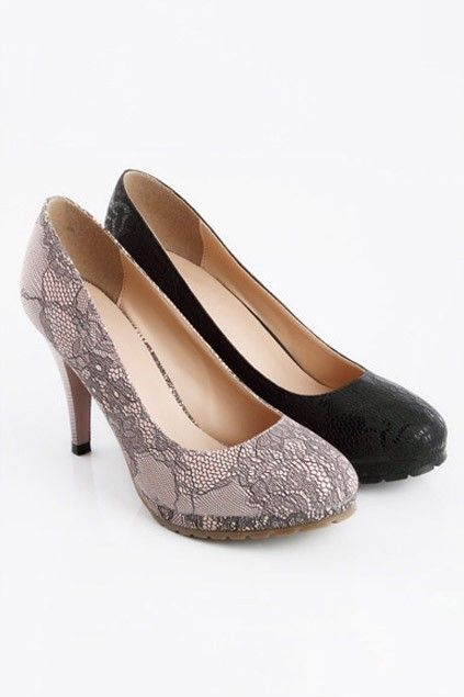 Lace Panel Detail Heeled Court Shoes: Lace Detail