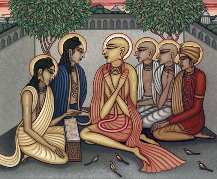 Sri Caitanya Mahaprabhu listening Gadadhar Pandit's Bhagavatam Discourse